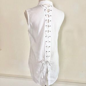 DL 1961 white linen Lace Up Tunic Top Small